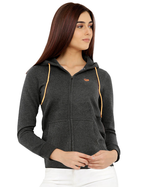 Loco En Cabeza Grey Cotton Fleece Long Sleeve Hoodie CZWH0009