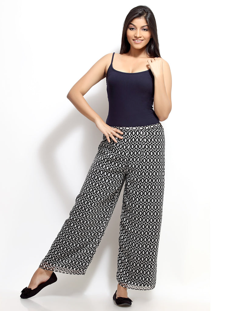 Loco En Cabeza Printed Lined Palazzo Pant   CZWP0001