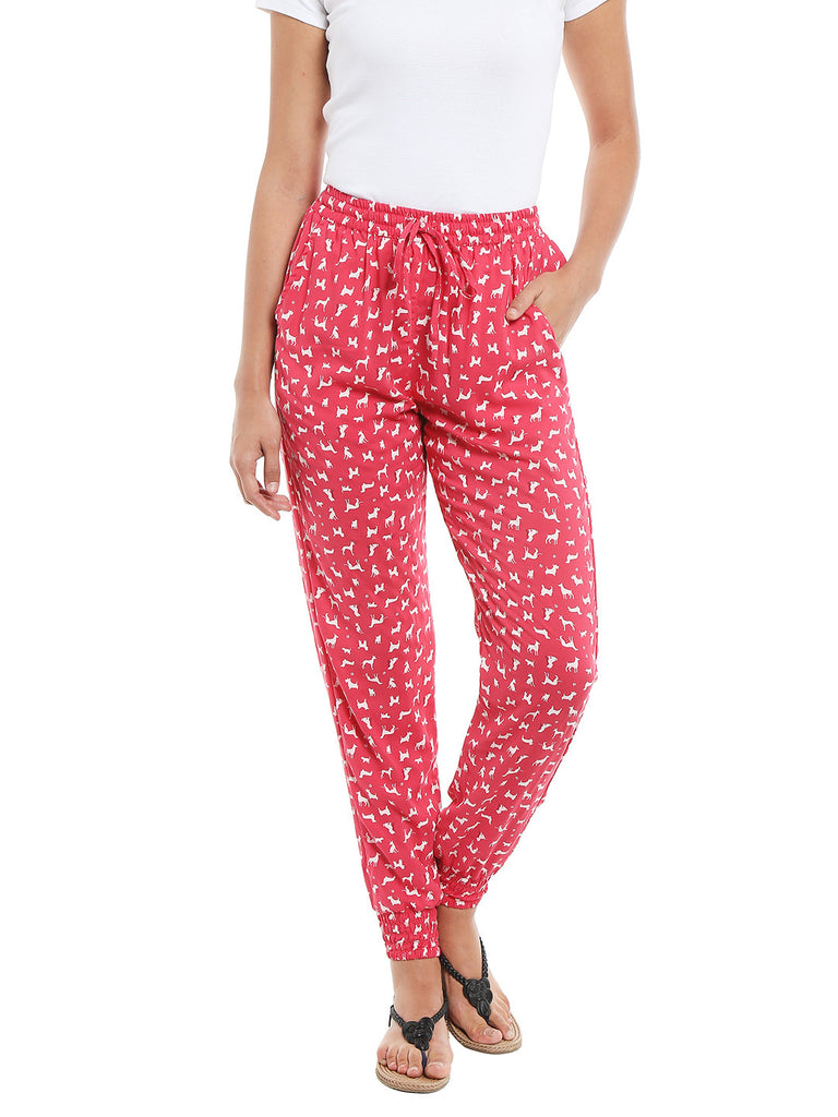Loco En Cabeza Printed Rayon Elasticated Bottom Lounge Pant CZWPY0007