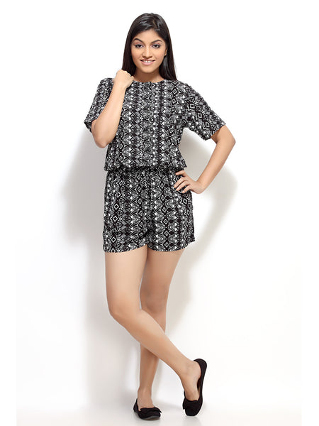 Jumpsuits / Rompers online shopping India -  black and white short printed Rayon jumpsuit / romper  from Loco En Cabeza will be a great addition to your wardrobe. Comfortable to wear