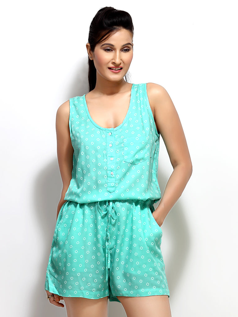 Loco En Cabeza Green printed Rayon sleeveles short Jumpsuit   CZWR0003