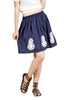 Loco En Cabeza Navy Solid Cotton Lace and Embroidery Skirt   CZWS0002
