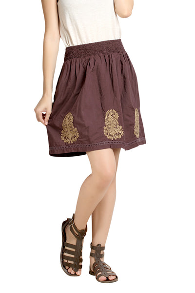 Loco En Cabeza burgandy Solid Cotton Lace and Embroidery Skirt   CZWS0003