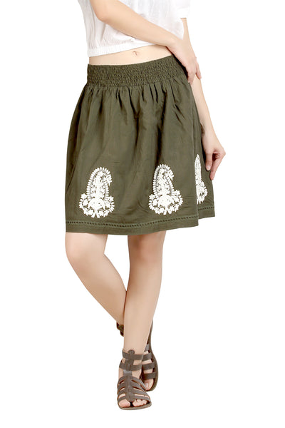 Loco En Cabeza Olive Solid Cotton Lace and Embroidery Skirt   CZWS0004
