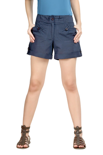 Loco En Cabeza Navy Cotton Linen Womens Short   CZWSH0001