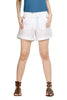 Loco En Cabeza WhiteCotton Linen Womens Short   CZWSH0002
