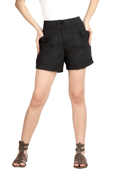 Loco En Cabeza Black Cotton Linen Womens Short   CZWSH0003