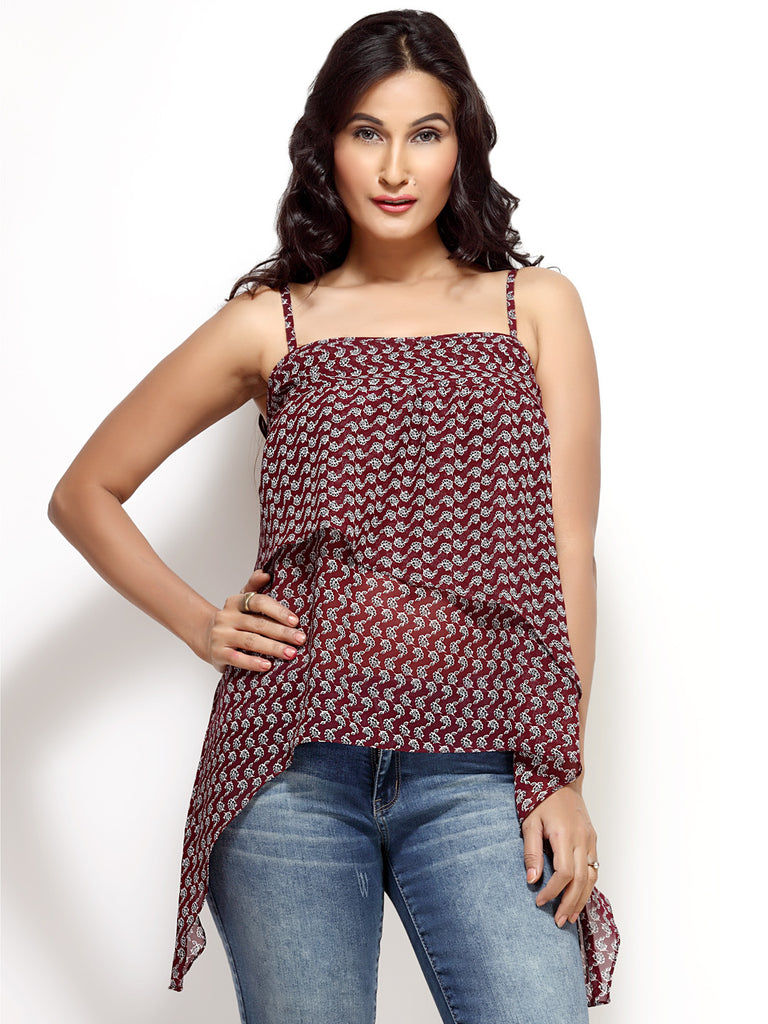 Loco En Cabeza Brown printed georgette layered irregular Strap  Top   CZWT0001