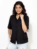 Loco En Cabeza Solid Black Cotton Womens Long Sleeve Shirt    CZWT0005