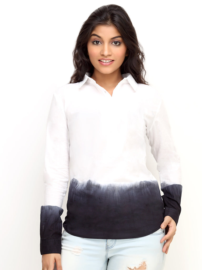 Loco Encabeza White Tonal Cotton Womens Long Sleeve Shirt   CZWT0008