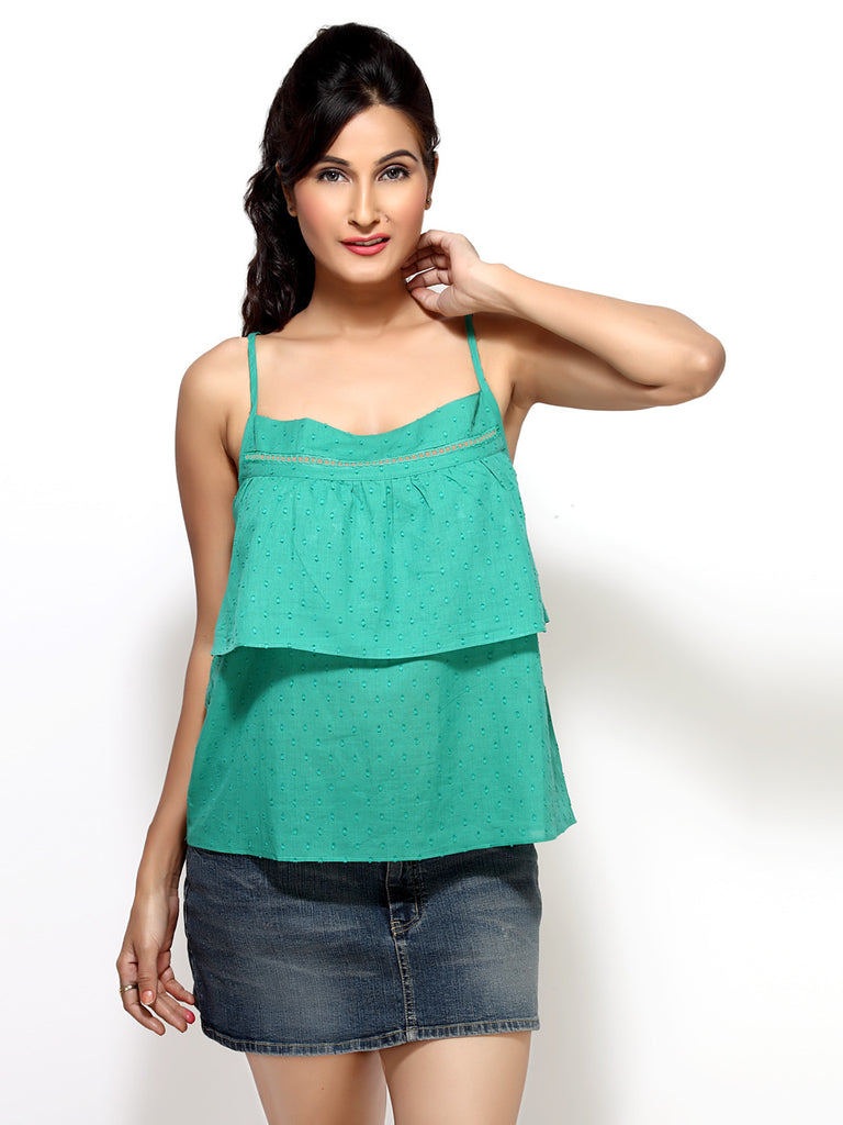 Loco En Cabeza Green  Strap Short Tiered Top   CZWT0009