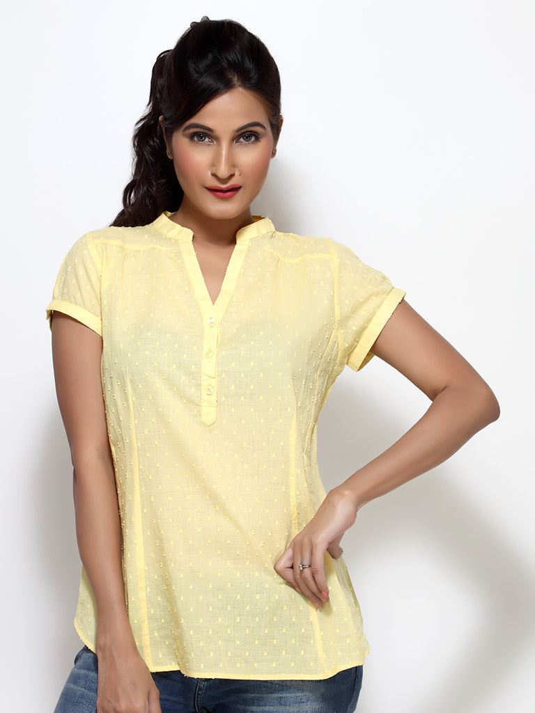 Loco En Cabeza Cotton Yellow V neck Top   CZWT0015