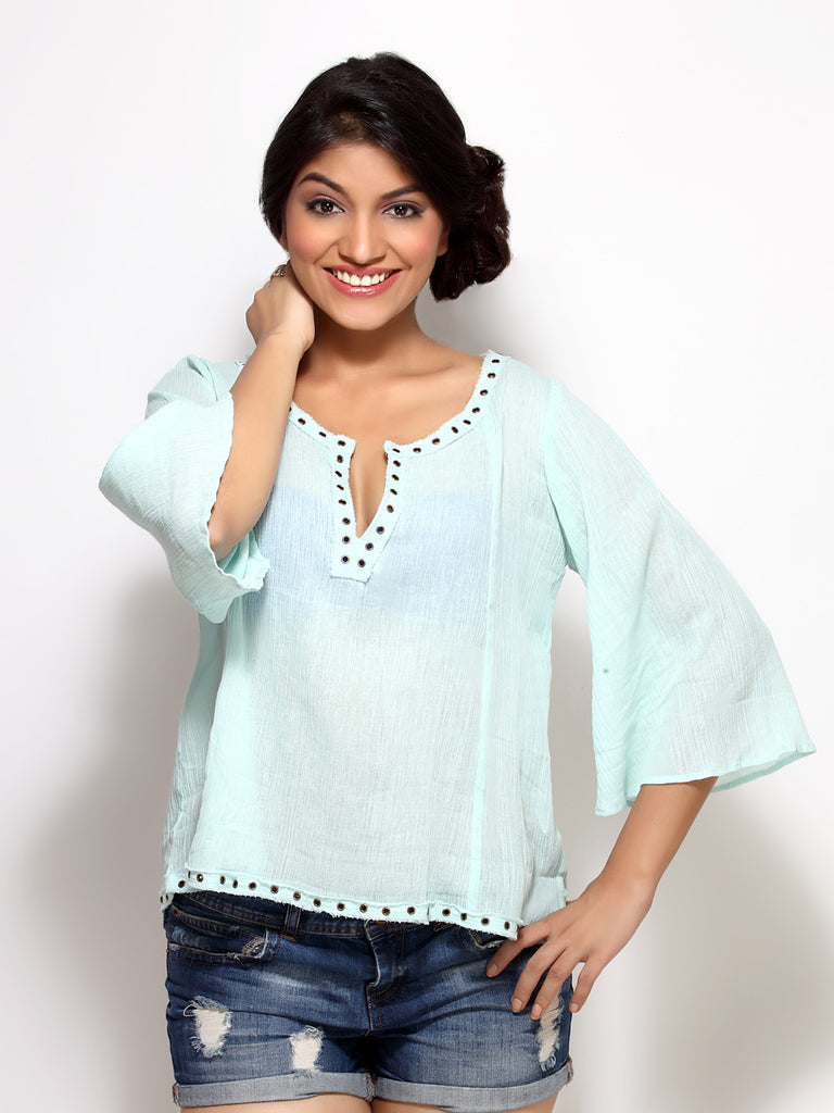 Loco En Cabeza  riveted Green Long Sleeve Peasent Top   CZWT0024