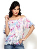 Loco En Cabeza Printed Georgette multi coloured Peasent Top   CZWT0029