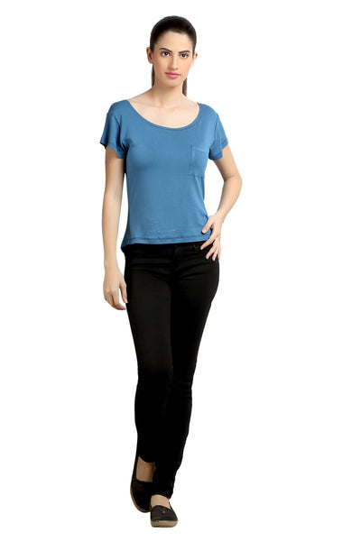Loco En Cabeza Blue short Sleeve Strech Viscose Top CZWT0033