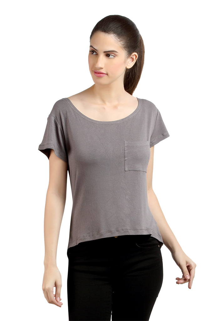 Loco En Cabeza Grey short Sleeve Strech Viscose Top   CZWT0035
