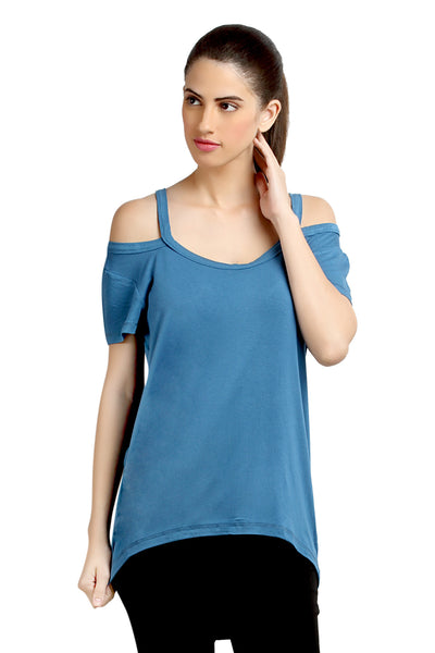 Loco En Cabeza Off Shoulder Blue Strech Viscose Top   CZWT0039