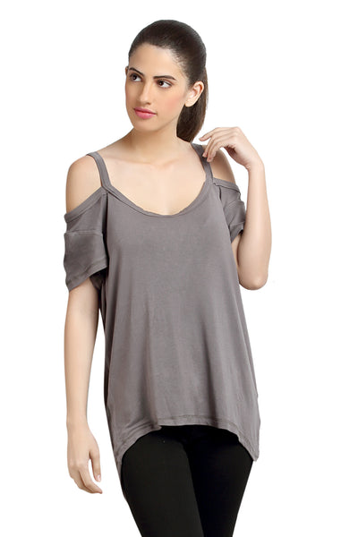 Loco En Cabeza Off Shoulder Grey Strech Viscose Top   CZWT0041