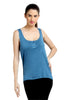 Loco En Cabeza Blue Sleeveless strech Viscose Tank Top   CZWT0045