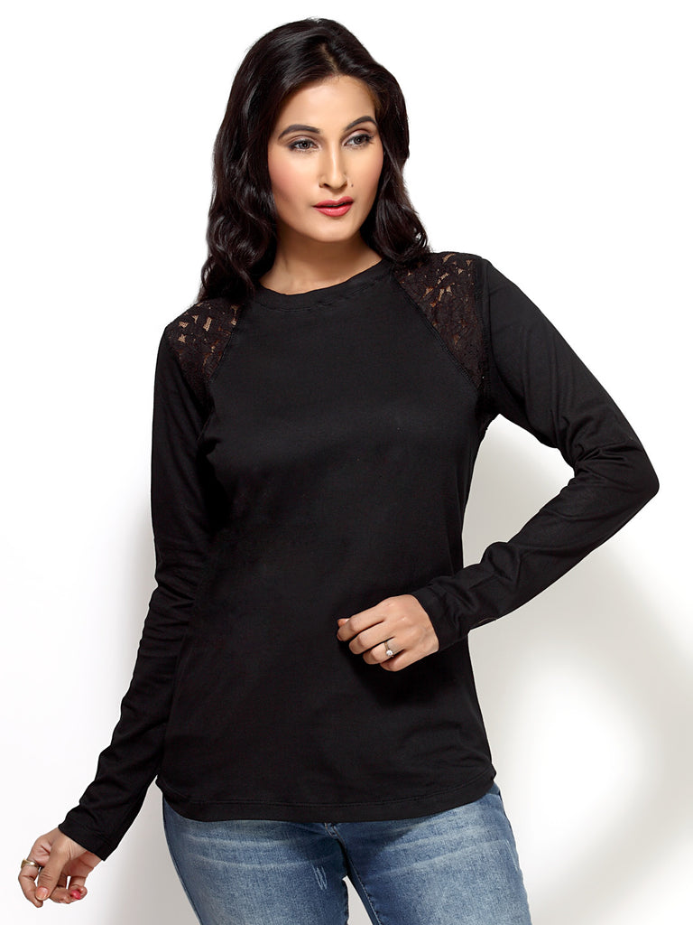 Loco En Cabeza Black Cotton Lace T Shirt   CZWT0048