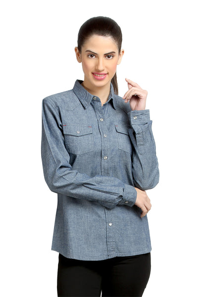 Loco En Cabeza Blue Denim Washed Womens Button Down Shirt   CZWT0054