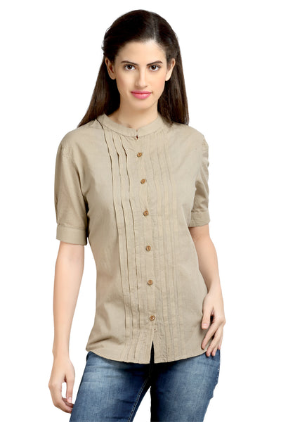 Loco En Cabeza Cotton Khaki Mandarin Collar Pleated shirt top   CZWT0056