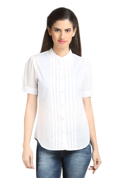 Loco En Cabeza Cotton White Mandarin Collar Pleated shirt top   CZWT0057