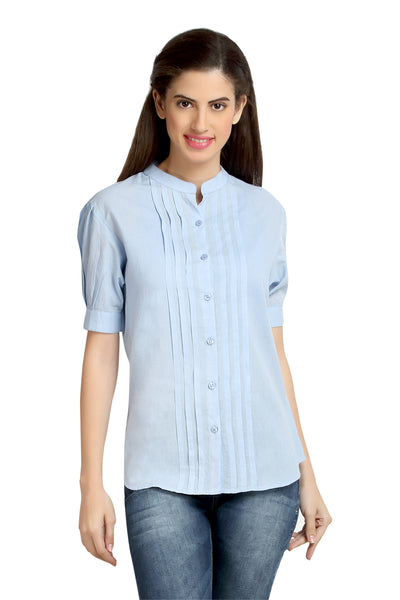 Loco En Cabeza Cotton Lt Blue Mandarin Collar Pleated shirt top   CZWT0058