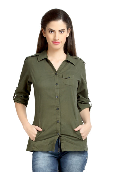 Loco En Cabeza Solid Olive Cotton Womens Long Sleeve Shirt    CZWT0059