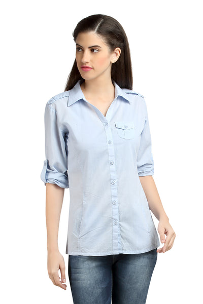 Loco En Cabeza Solid Lt Blue Cotton Womens Long Sleeve Shirt    CZWT0060