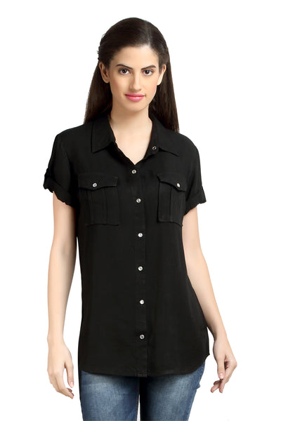 Loco En Cabeza Black  Short Sleeve Rayon Shirt Top   CZWT0064