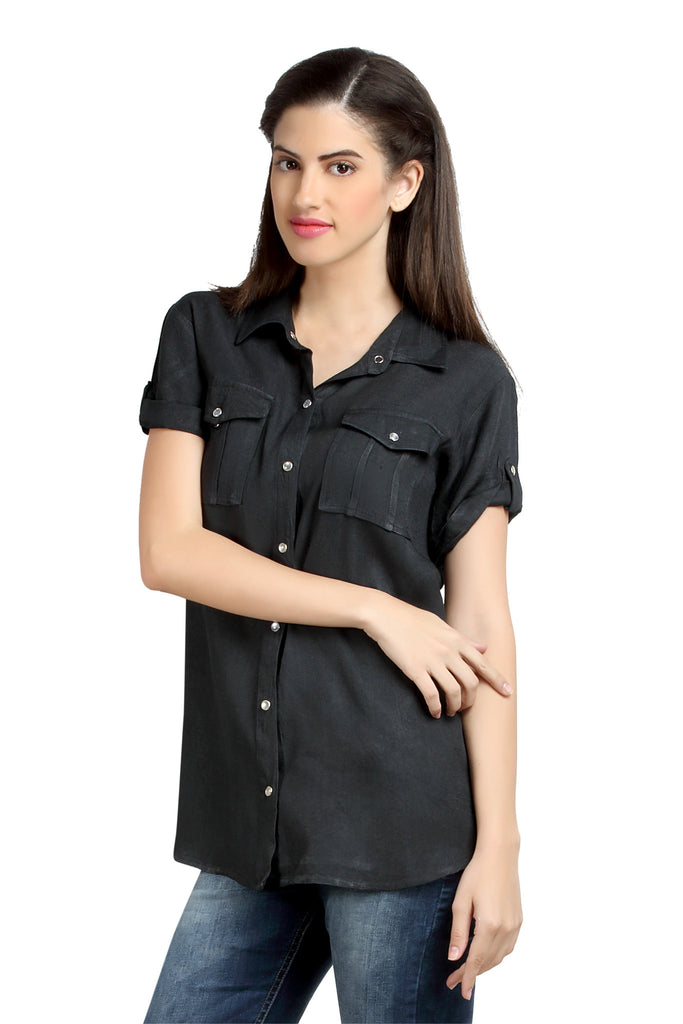 Loco En Cabeza Charcoal Short Sleeve Rayon Shirt Top   CZWT0065