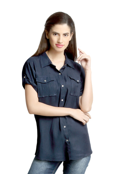 Loco En Cabeza Navy Short Sleeve Rayon Shirt Top   CZWT0066