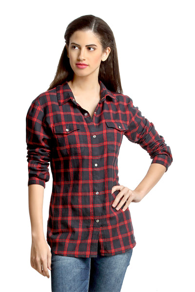 Loco En Cabeza Blue / Red Plaid Check Shirt Top   CZWT0067