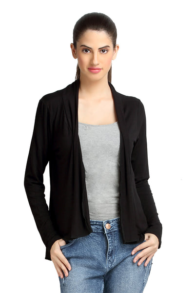 Loco En Cabeza Solid Dyed Black Viscose Shrug Top   CZWT0068