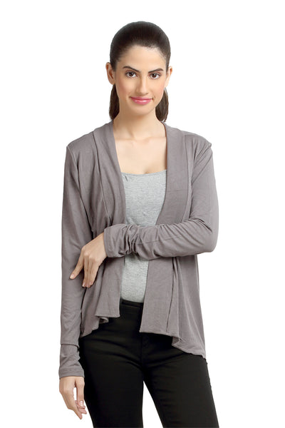 Loco En Cabeza Solid Dyed Grey Viscose Shrug Top   CZWT0069