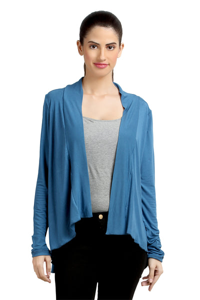 Loco En Cabeza Solid Dyed Blue Viscose Shrug Top   CZWT0070