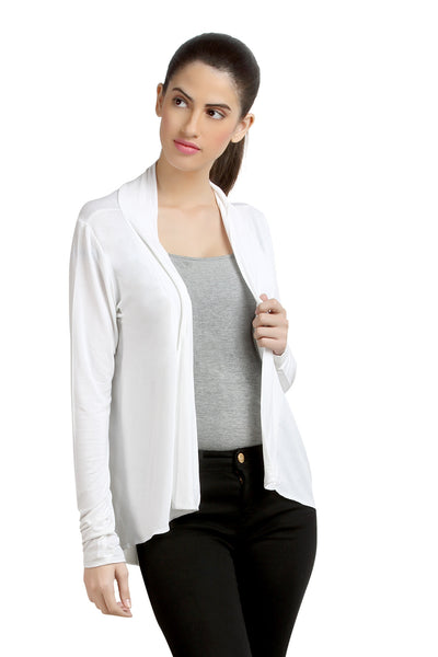 Loco En Cabeza Solid Dyed WhiteViscose Shrug Top   CZWT0071