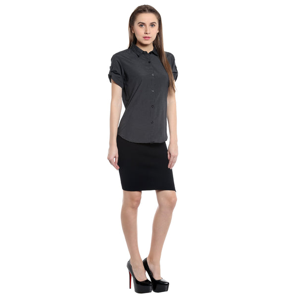 Loco En Cabeza Solid Shirt Top CZWT0073