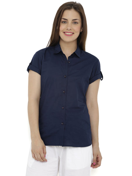 Loco En Cabeza Navy Short Sleeve Rayon Shirt Top CZWT0117