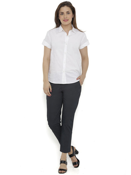 Loco En Cabeza White Short Sleeve Rayon Shirt Top CZWT0118