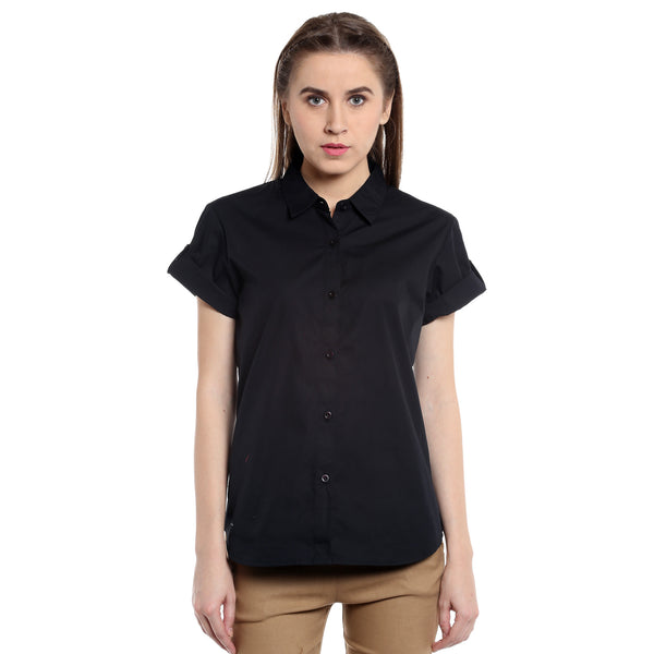 Loco En Cabeza Black  Short Sleeve Poplin Shirt Top CZWT0119