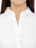 Loco En Cabeza Solid White Cotton Womens Long Sleeve Shirt CZWT0123