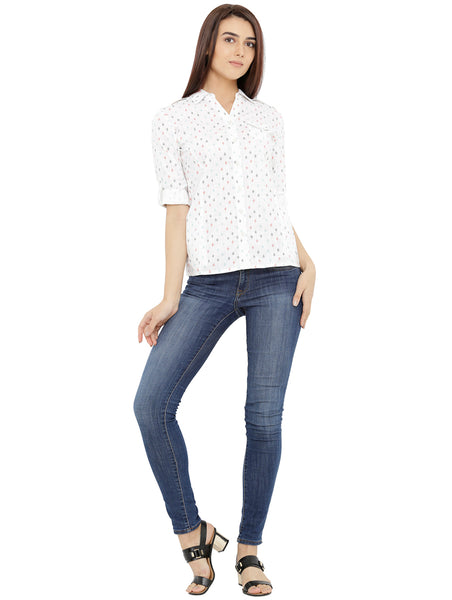 Loco En Cabeza Printed White Cotton Womens Long Sleeve Shirt CZWT0124