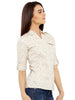 Loco En Cabeza Printed Beige Cotton Womens Long Sleeve Shirt CZWT0125