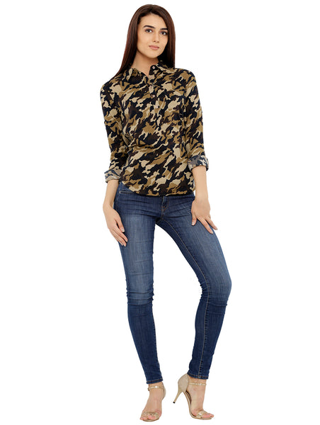 Loco En Cabeza Cotton Womens Long Sleeve Shirt Top CZWT0126