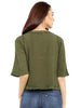 Loco En Cabeza Riveted Green 3/4 Sleeve Peasent Top CZWT0128