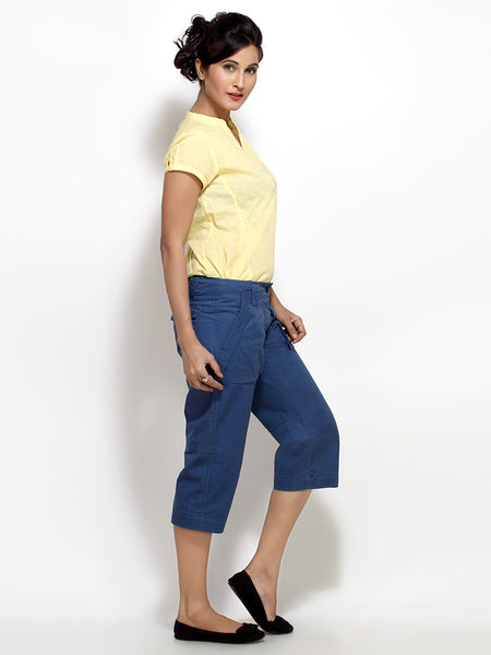Blue Capri Pants for Women Online Shopping India | 3/4 Pants