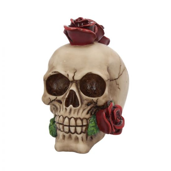 Human Skull -Rose Covered Skull Figurine