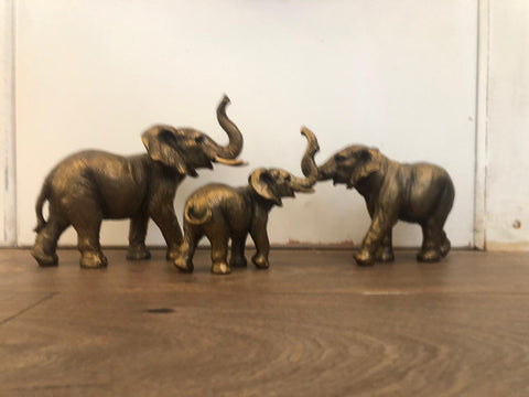 Animal Sculpture - Elephant Family of 3 Bronze